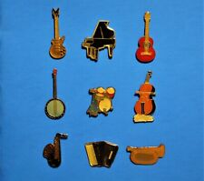 MUSIC INSTRUMENT - GUITAR - BANJO - PIANO - DRUM SET - 9 VINTAGE LAPEL PIN LOT