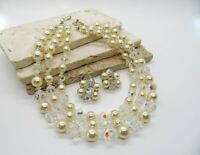 Vintage Coro Layered Pearl Crystal Bead Choker Necklace Clip Earrings Set CC42