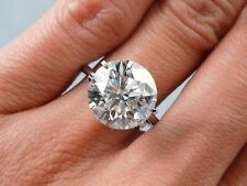 Ring in Solid 14k White Gold 5.00Ct Round White Solitaire Diamond Engagement