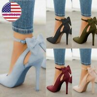 Womens High Heels Pointed Toe Hole Sandals Ankle Strap Bow-knot Stiletto Shoes