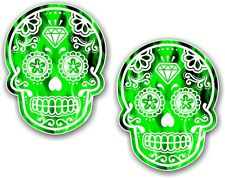 2pcs 70x55mm Mexican Day Of The Dead Sugar Skull Green Fire Flames Car Sticker
