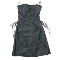 Roland Nivelais Womens 4 Silk Strapless Cocktail Dress Ruffled Black Side Ties