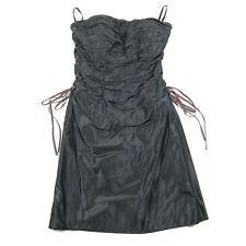Roland Nivelais Womens 4 Silk Ruffled Black Side Ties Strapless Cocktail Dress