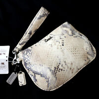 NWT COACH 45126 Kristin Embossed Python Snakeskin Medium Wristlet/Clutch NEW $98