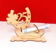 Geldgeschenk, Geburtstagszahl 25, Hufeisen mit Kleeblatt mit Namensgravur, Holz