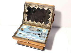 Antique c1830 French Palais Royal Vanity Necessaire Box & Contents Beautiful
