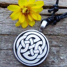 Pendant Charm with Cotton Necklace#462 Triskele Wheel Triquetra Celtic Pewter