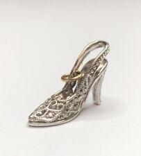 Fine 14K White Gold Pave Diamond Filigree Stiletto Heel Shoe Pendant Charm #5