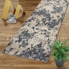 VINTAGE BEIGE BLUE FADED ANTIQUE STYLE TRADITIONAL RUG RUNNER 80x400cm **NEW**