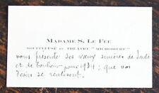 MADAME S. LE FEE, CARTE DE VISITE AUTOGRAPHE
