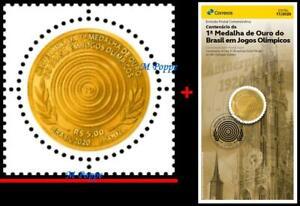20-17 BRAZIL 2020 CENT. 1st BRAZILIAN GOLD MEDAL IN OLYMPICS, MNH + BROCHURE