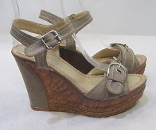 "new Gray 4.5""high Wedge Heel 1.5""Platform peep Toe Sexy Shoes Size 8"