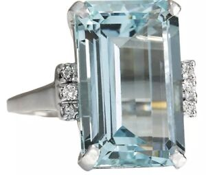Princess Diana Replica Aquamarine Ring with Diamonds High Fashion Size 8