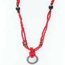 "Red Plastic Beaded 26"" Multistrand Necklace Wood Beads Metal Pendant Indonesia"