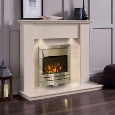 CREAM MARBLE STONE SURROUND SILVER ELECTRIC WALL FIRE FIREPLACE SUITE DOWNLIGHTS