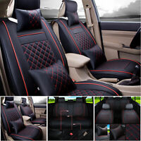 Luxury 5-Seat Car PU Leather Seat Cover SUV Front+Rear Cushion Set W/Pillows