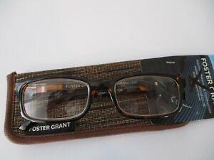 NEW!! FOSTER GRANT MENS BROWN READING GLASSES W/CASE +1.25 BOSTON