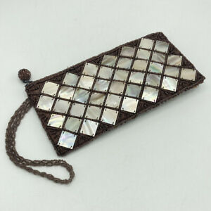 """Mad Bags Seed Bead Mother of Pearl Squares Small Zip Clutch Hand Bag 8""""x4"""""""