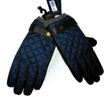 POLO Ralph Lauren men's Brown Leather & Navy Quilted Gloves size Large nwt
