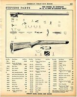1956 Print Ad of Savage Stevens Model 58 Shotgun Parts List