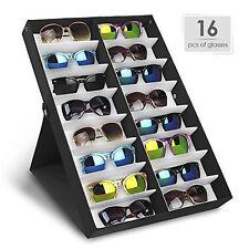 (2) Sunglasses Display Rack Holder Stand Organizer Storage 16 Eyewear Tray Box