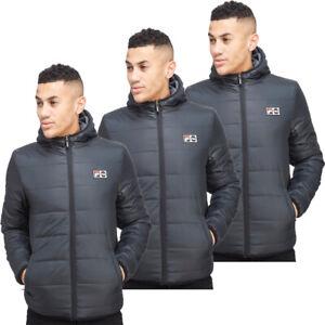 Fila Mens Padded Jackets Reversible Alpino Full Zip Jacket Coat Hoody Pockets