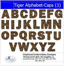 Embroidery Design CD - Tiger Alphabet Caps - 26 Designs - 9 Formats - Threadart