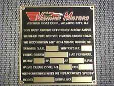 Vintage Ventnor Boat Data plate acid etched brass