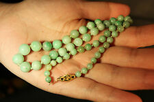 Vintage Chinese jade jadite hand carved beads chain w/ 14k gold clasp