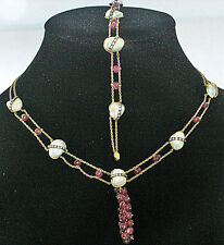 ELEGANT RETRO 18K DIAMOND RUBY PEARL BRACELET NECKLACE