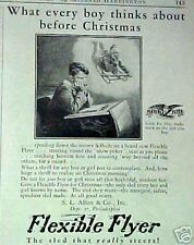1927 Flexible Flyer Sled Vintage Christmas Kids Toy Memorabila Promo Print AD