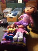 "Dora The Explorer 26"" PlushDoll, Dora Throw, 2 Dora Dolls 1 W/ Dora Twins"