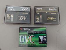 3 Used Mini DV Panasonic Maxell and Fujifilm Digital Video Cassette Tapes