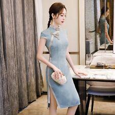 New Elegant Blue Floral Prints Short Dress Cheongsam Chinese Qipao lcdress136