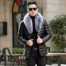 Mens 90% Duck Down Jackets Fur Collar genuine Leather Coat Padded Outwear Jacket
