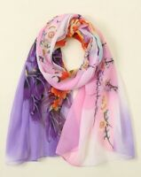 NEW Lilac Pink Floral Print Scarf Ladies Womens Shawl Sarong Hijab Head Wrap UK