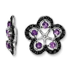 Platinum Sterling Silver Black Sapphire Amethyst Halo Earring Jackets For Stud