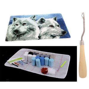 Knüpfteppich Set Knüpfset Knüpfbild Wolf Muster für Erwachsene, Große