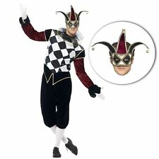Adults Mens Vintage Venetian Harlequin Jester Halloween Costume + Filligree Mask