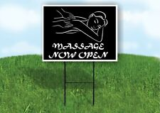 Massage Now Open Black Plastic Yard Sign Road Sign with Stand