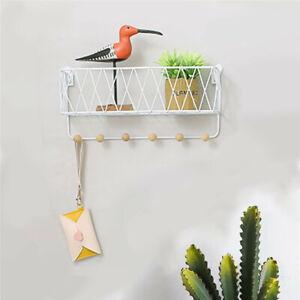 Wall Mounted Shelf Hooks Basket Wire Rack Storage Unit With Key Hanging Hanger