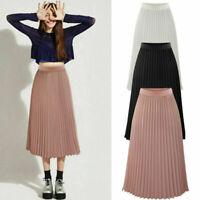 Womens Chiffon Pleated Skirt Long Elastic Waist Maxi Dress Summer Swing Dress