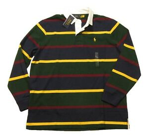 Polo Ralph Lauren Men's Green Multi Stripe Classic Fit Rugby Polo Shirt