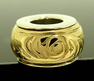Bd001 Genuine 9K Yellow Gold Bead Charm Scroll patterned Two-Tone