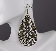 "Bronze big huge earrings cut out filigree scroll oval teardrop 3.25"" long"
