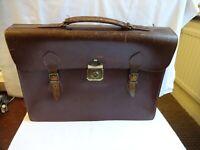 Vintage English Brown Leather Briefcase With Original Keys