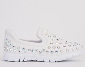 WOMENS WHITE DIAMANTE SLIP ON FLATS LOAFERS TRAINERS PLIMSOLLS PUMPS SHOES SIZES