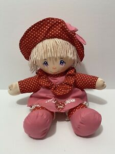 Vintage Dolly Mine I Love You Baby Doll 1987  Toy 80s Soft Body Plush Yarn Hair