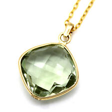 Natural Green Amethyst Pendant Necklace Cushion Faceted 18k Yellow Gold
