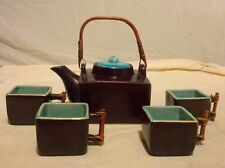 Square Brown Glaze Teapot Tea Cups Gift Set (Handcrafted in Vietnam)